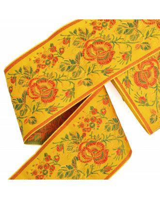 Лента отделочная жаккардовая рис.9421 ш.9см Роза цв.желтый в ассортименте арт. МГ-81682-1-МГ0750491