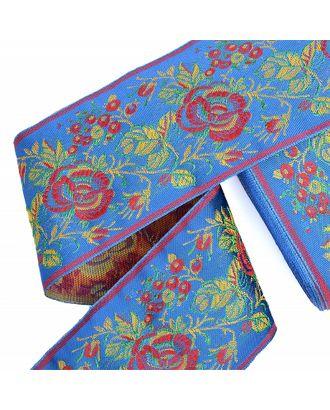 Лента отделочная жаккардовая рис.9421 ш.9см Роза цв.синий арт. МГ-81685-1-МГ0750495