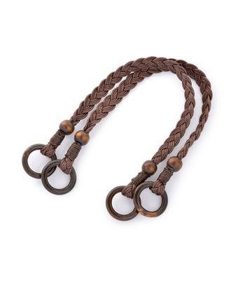 Ручка для сумки шнур вощеный/дерево 27372 48см цв.коричневый уп.2шт арт. МГ-82023-1-МГ0761119