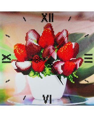 "Набор ""Колор Кит"" картина со стразами-часы Клубника в шоколаде 30х30 арт. МГ-83498-1-МГ0767241"