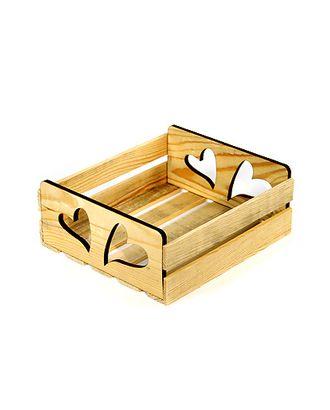 Коробка деревянная 125/407-93 лоток прямоуг. с резными ручками- 2 сердца (23х20х10см) арт. МГ-91676-1-МГ0788221