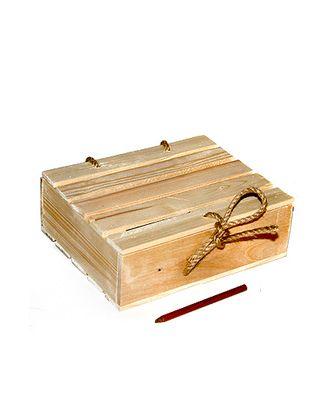 Коробка деревянная 307 прямоуг. с крышкой и шнуром (22,5х18х7,5см) арт. МГ-91186-1-МГ0788232