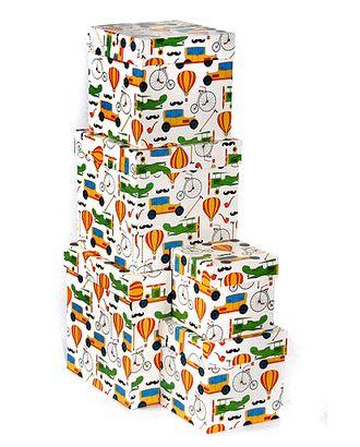 Коробка карт. 051/655 наб. из 5 кубов мал.- ехать и лететь (9x9x9см-17x17x17см) арт. МГ-91383-1-МГ0788302