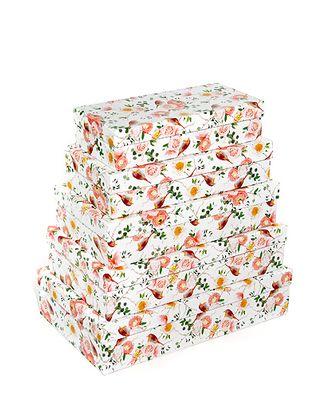 Коробка карт. 053/374 наб. из 5 прямоуг. мал.- трели малиновки (22x10х5см-30x18х7см) арт. МГ-91114-1-МГ0788318