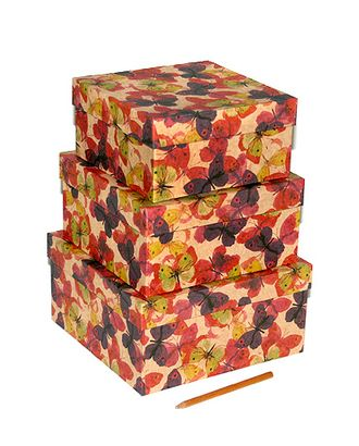 Коробка карт. крафт 030/361 наб. из 3 квадр. средн. - тропические бабочки (16x16x8-20x20x10см) арт. МГ-91481-1-МГ0789352