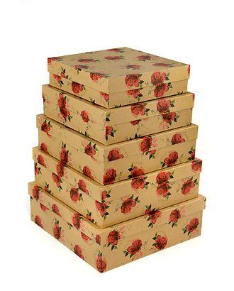 Коробка карт. крафт 050/370 наб. из 5 квадратов- розанчики (22х22х6-30х30х10см) арт. МГ-90902-1-МГ0789353