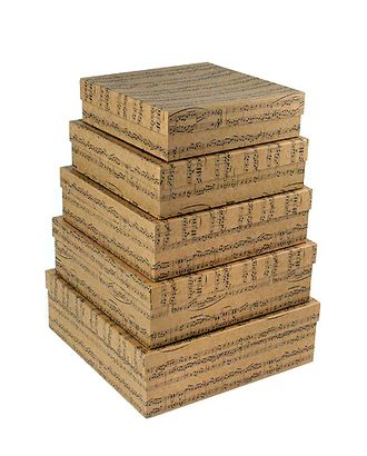 Коробка карт. крафт 050/681 наб. из 5 квадратов- мелодия (22х22х6-30х30х10см) арт. МГ-91139-1-МГ0789355