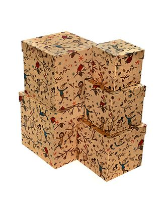 Коробка карт. крафт 051/X008 наб. из 5 кубов мал.- нов.год все на каток! (9x9x9см-17x17x17см) арт. МГ-90514-1-МГ0789367
