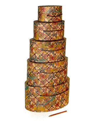 Коробка карт. крафт 059/183 наб. из 5 овал.- полет бабочки (15х10х7см-29х20х14см) арт. МГ-91458-1-МГ0789618