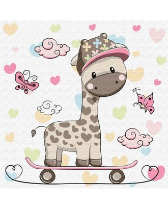 Картины по номерам Molly Жирафик на скейтборде (12 цветов) 20х20 см арт. МГ-96645-1-МГ0795312