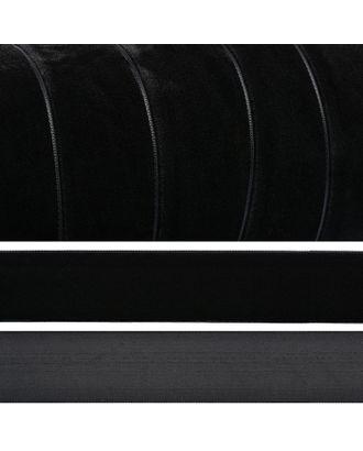 Лента бархатная эластичная нейлон ш.3,8см цв.черный арт. МГ-96566-1-МГ0797556