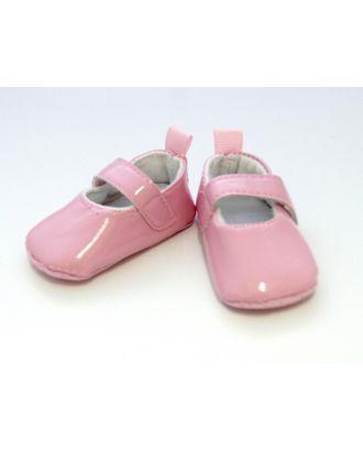 Туфли лакированные для кукол КЛ.25273 размер по подошве 7,5см выс.3см, цв.розовый арт. МГ-94292-1-МГ0802087
