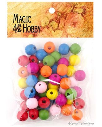 Бусины деревянные детские MAGIC HOBBY 123 цв.ассорти уп.40г (85±3 шт), 12х12х5 мм, in Ø1,5 мм арт. МГ-94990-1-МГ0853393