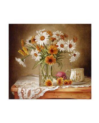 Картины по номерам Molly Натюрморт с ромашками и васильками (19 цветов) 30х30 см арт. МГ-96400-1-МГ0860073