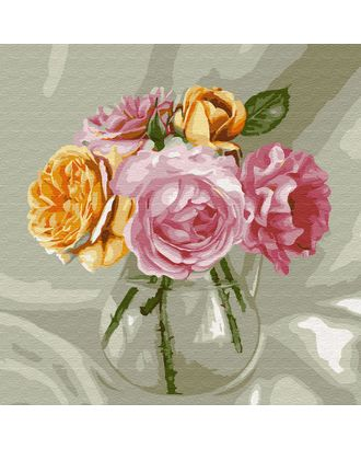 Картины по номерам Molly Бузин. Букет из роз (20 цветов) 30х30 см арт. МГ-95182-1-МГ0860075