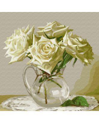 Картины по номерам Molly Бузин. Пять белых роз (20 цветов) 30х30 см арт. МГ-95212-1-МГ0860082