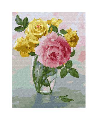 Картина по номерам с цветной схемой на холсте Molly Бузин. Пионы и розы (24 цвета) 30х40 см арт. МГ-95094-1-МГ0860091