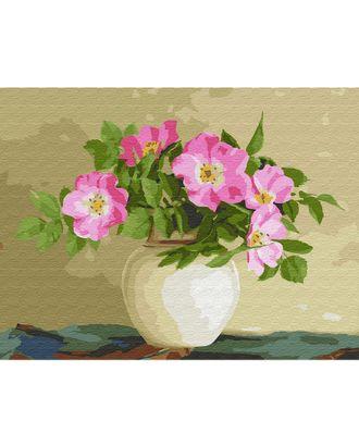 Картина по номерам с цветной схемой на холсте Molly Бузин. Цветы шиповника (22 цвета) 30х40 см арт. МГ-95072-1-МГ0860095