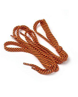 Шнурки плоские 9 мм 7с859 длина 100 см, компл.2шт, цв. черный с люминисц.оранжевый арт. МГ-105743-1-МГ0894832