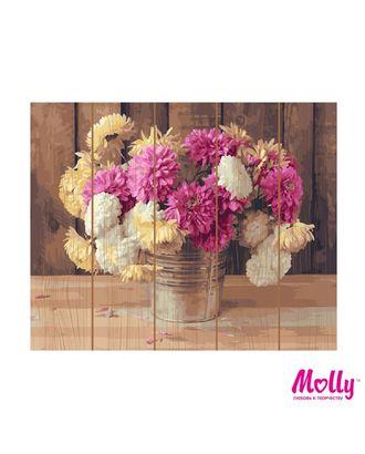Картины по номерам на дереве Molly Дачный букет (28 цветов) 40х50 см арт. МГ-96668-1-МГ0910166