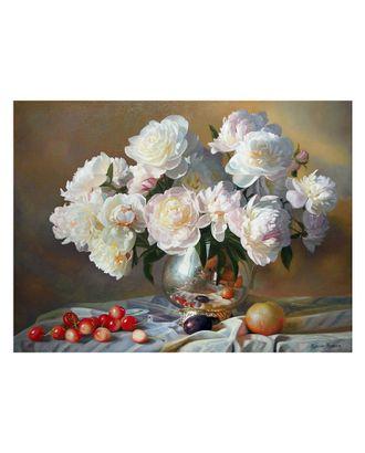 Картина по номерам с цветной схемой на холсте Molly Натюрморт с белыми пионами (23 цвета) 30х40 см арт. МГ-101240-1-МГ0947807