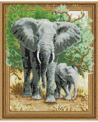 "Набор ""Колор Кит"" картина алмазная Слоны на прогулке 40х50 арт. МГ-104459-1-МГ0956485"