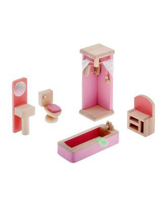 """Мебель кукольная """"Ванная комната"""" 5 предметов, в пакете арт. СМЛ-25487-1-СМЛ1015067"""