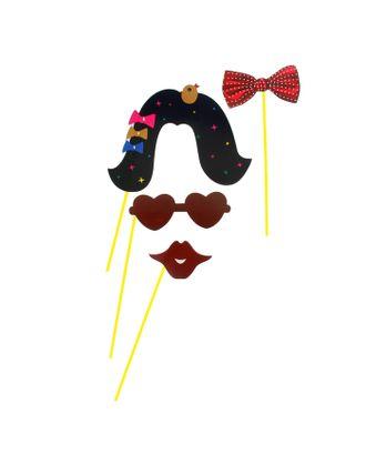 Набор аксессуаров для фотосессии на палочке «Кокетка», 4 предмета: бабочка, очки, парик,губы арт. СМЛ-103681-1-СМЛ0001019764