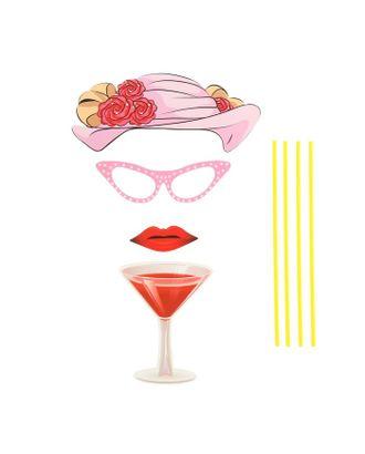 Карнавальный набор для фотосессии «Леди», 4 предмета: шляпа, очки, губы, бокал арт. СМЛ-104045-1-СМЛ0001090265