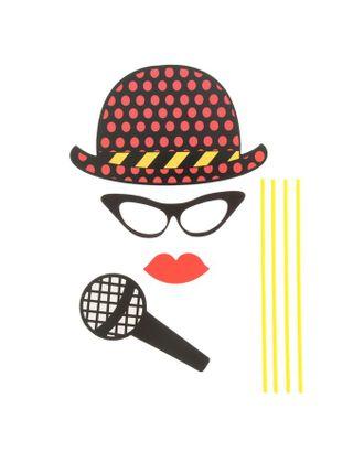 Карнавальный набор для фотосессии «Солист», 4 предмета: шляпа, очки, губы, микрофон арт. СМЛ-104048-1-СМЛ0001090266
