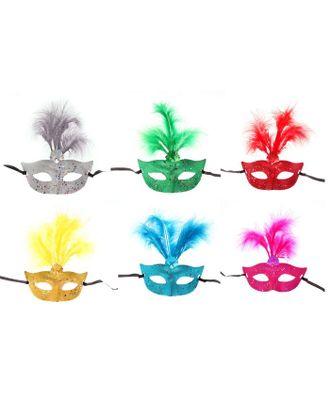 Карнавальная маска «Странница», с перьями, цвета МИКС арт. СМЛ-104038-1-СМЛ0001102607