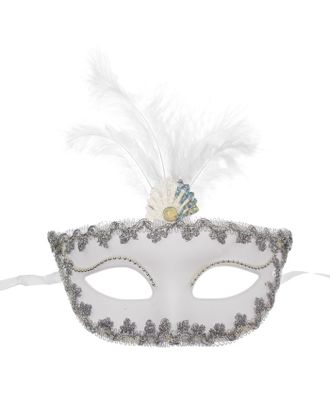 Карнавальная маска «Иней», с перьями арт. СМЛ-104039-1-СМЛ0001102610