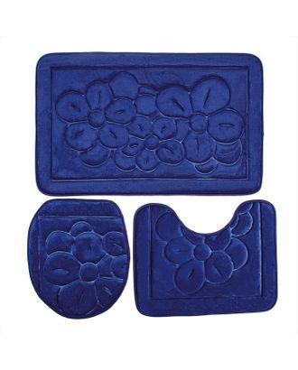 Набор ковриков для ванны и туалета, 3 шт: 36×43, 40×50, 50×80 см, цвет синий арт. СМЛ-30354-1-СМЛ1116371
