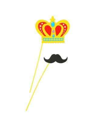 Аксессуар для фотосессии «Гигант», на палочке, 2 предмета: корона, усы арт. СМЛ-104414-1-СМЛ0001126250