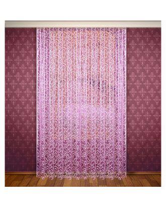 Штора, ширина 300 см, высота 280 см, с шторной лентой, цвет фиолетово-розовый арт. СМЛ-589-1-СМЛ1130297