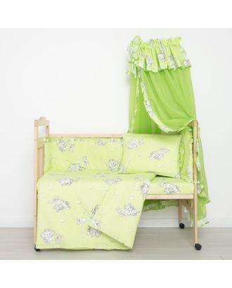 """Комплект в кроватку """"Слонята"""" (5 предметов), цвет зелёный (арт. 51/1) арт. СМЛ-22081-1-СМЛ1208644"""