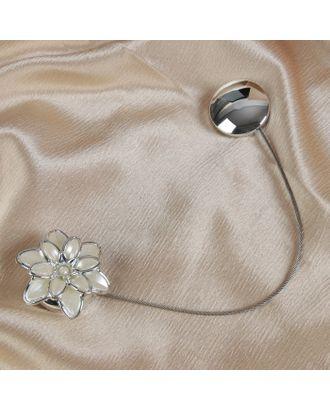 Подхват для штор «Георгин», 6 × 6 см, цвет серебряный/белый арт. СМЛ-25591-1-СМЛ1236071