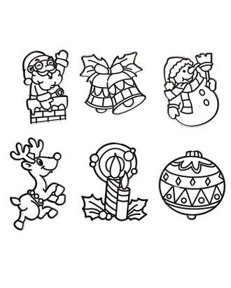 """Витраж-мини """"Дед Мороз, снеговик, шарик, колокольчики, свечка, олень"""" арт. СМЛ-40731-1-СМЛ0001241171"""