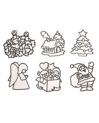 """Витраж-мини """"Дед Мороз, елка, ангел, дом, подарок, венок"""" арт. СМЛ-40732-1-СМЛ0001241172"""