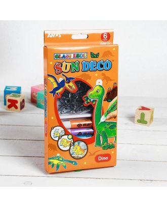 """Набор витражных красок """"Динозавры"""", 6 цветов по 10,5 мл + 6 мини-витражей арт. СМЛ-944-1-СМЛ1297117"""