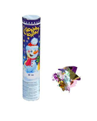 Пневмохлопушка поворотная «С Новым годом!» Снеговик, конфетти + фольга, 20 см арт. СМЛ-43134-1-СМЛ0001313215