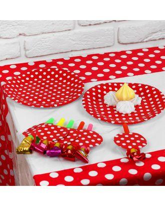 Набор для праздника «Горох», скатерть 180х108 см, 6 тарелок, 6 язычков, цвет красный арт. СМЛ-42998-1-СМЛ0001375845