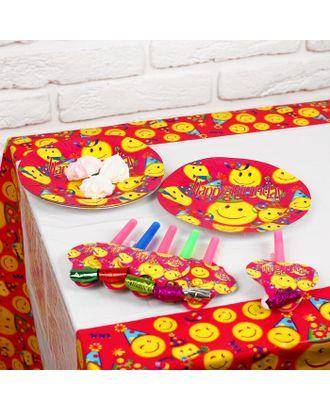 Набор для праздника «Смайлики», скатерть 180х108 см, 6 тарелок, 6 язычков арт. СМЛ-42999-1-СМЛ0001375850