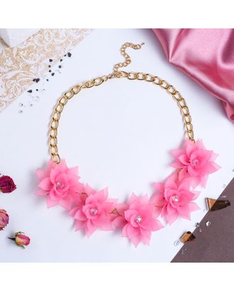 """Колье """"Цветочное настроение"""" камелия, цвет розовый арт. СМЛ-20453-1-СМЛ1378295"""