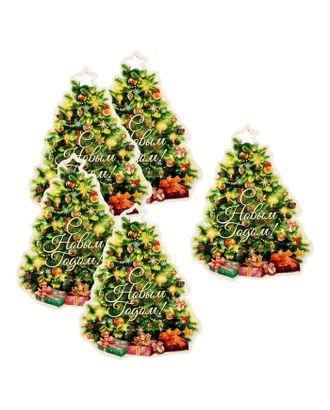 Шильдик декоративный на подарок «Новогодняя ёлка», 7,6 × 10 см арт. СМЛ-120296-1-СМЛ0001385505
