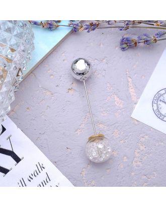 """Булавка """"Волшебный шар"""", 7,7 см, цвет белый в серебре арт. СМЛ-28756-1-СМЛ1399293"""