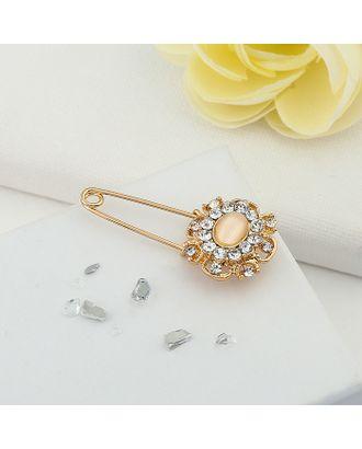 """Булавка """"Классика"""" с камнем, 4 см, цвет бело-персиковый в золоте арт. СМЛ-1188-1-СМЛ1410770"""