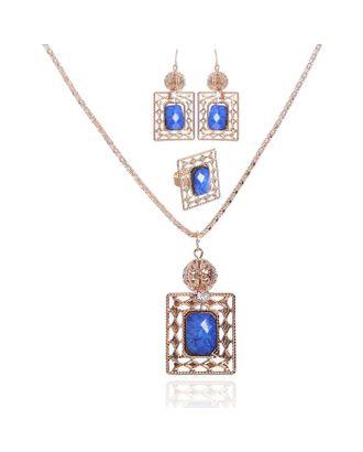 """Гарнитур 3 предмета: серьги, кулон, кольцо """"1000 и 1 ночь"""", прямоугольник арт. СМЛ-20530-2-СМЛ1411442"""