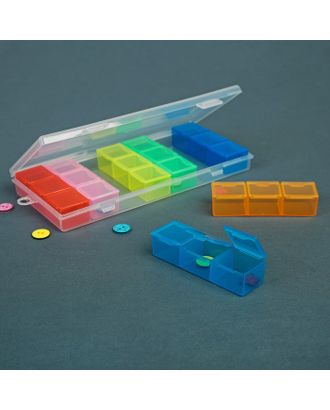 Контейнер для рукоделия, 7 контейнеров по 3 отделения, 19х8х2 см, цвет МИКС арт. СМЛ-1244-1-СМЛ1427095