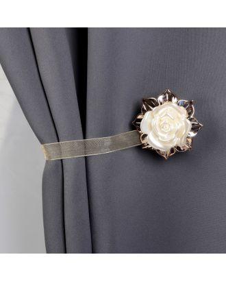 Подхват для штор «Роза», d = 5 см, длина - 26 см, цвет золотой арт. СМЛ-1247-1-СМЛ1429529